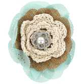 Layered Flower Clip & Pin with Embellished Center